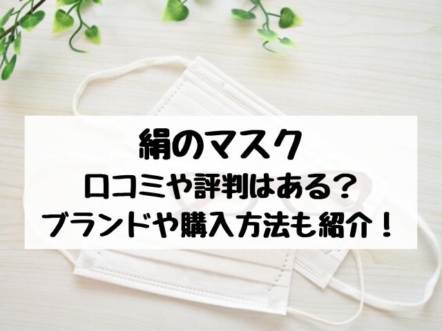 絹のマスクの口コミ•評判•使い心地は?ブランドや購入方法についても調査
