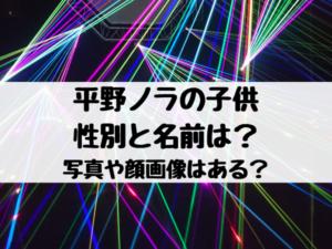 平野ノラの子供の性別と名前は?写真や顔画像はある?