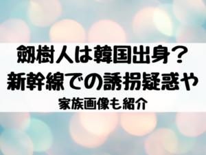 劔樹人は韓国出身?新幹線での誘拐疑惑や家族画像も紹介