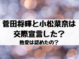 菅田将暉と小松菜奈は交際宣言した?熱愛は認めたの?